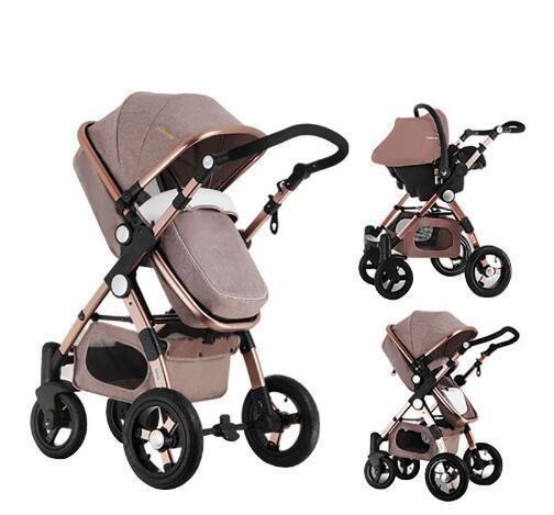 Luxury European Rose Gold Frame Baby Stroller Higher Landscape