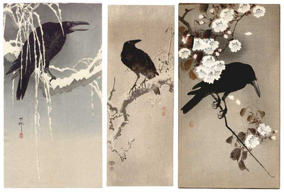 Koson - Crow on Snowy Branch, Crow, Crow and Cherry Blossoms