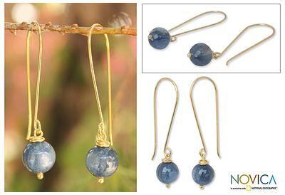 Gold vermeil kyanite dangle earrings, 'Songkran Moon' - Artisan Crafted Vermeil Kyanite Earrings