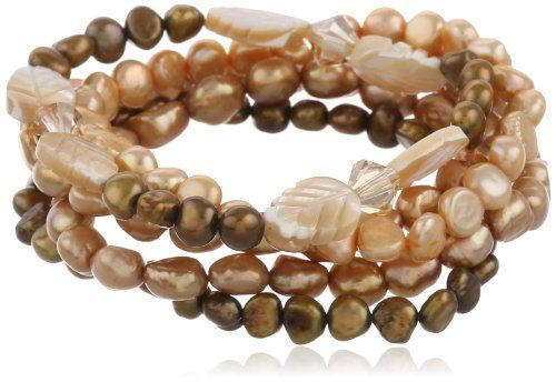 """Amazon.com: Champagne and Bronze Color Cultured Freshwater Pearl Set of 5 Stretch Bracelets, 7.5"""": Jewelry"""