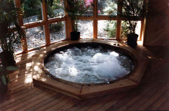 Cozy indoor hot tub.