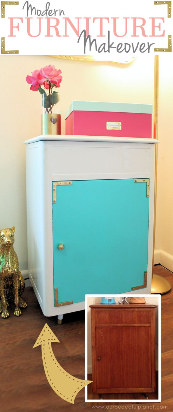Refurbishing furniture can be as easy as giving it a new coat of paint. And when you pick bright contrasting colors you've got a gorgeous statement piece!