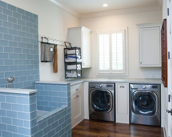 Decoration, Inspiring Dog Washing Sink With Recessed Lighting And Blue Backsplash Tiles Also Laminate Flooring: Extraordinary Dog Washing Sinks In Laundry Rooms
