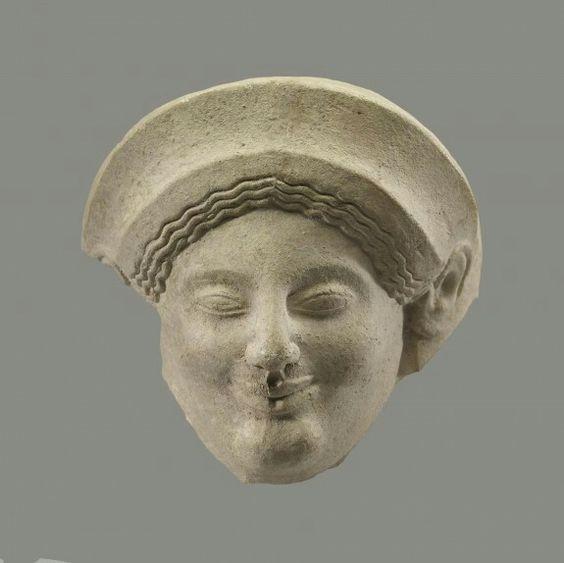 Terracotta head of a goddess. Greek. Archaic Period. Late 6th century B.C. | The Walters Art Museum: