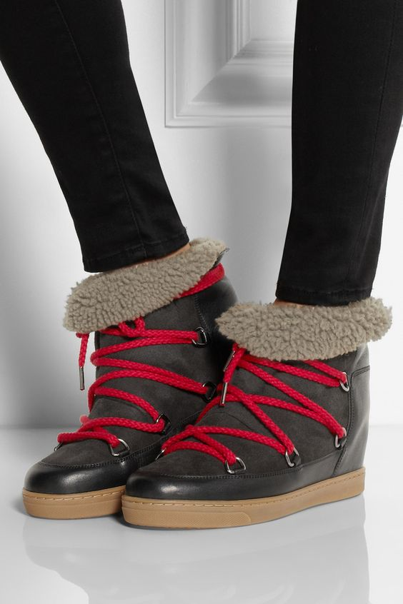 isabel marant nowles shearling lined leather concealed wedge boots yay or nay shoes bags. Black Bedroom Furniture Sets. Home Design Ideas