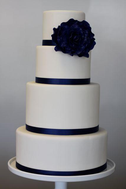 Rose Cake Navy And White Roses On Pinterest