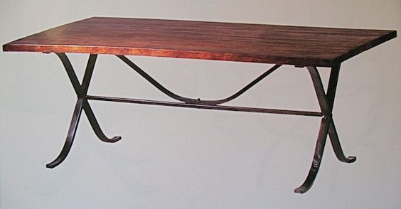 Iron trestle table base Mountain lodge art and accessories