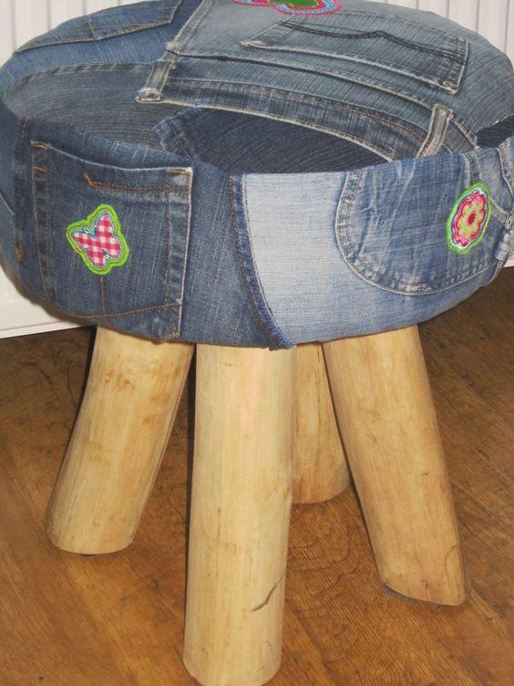 krukje opnieuw bekleed met jeans! creatief, hip, vrolijk en net even wat anders om je oude spijkerbroeken te doen. Zo wordt recyclen heel bijzonder!