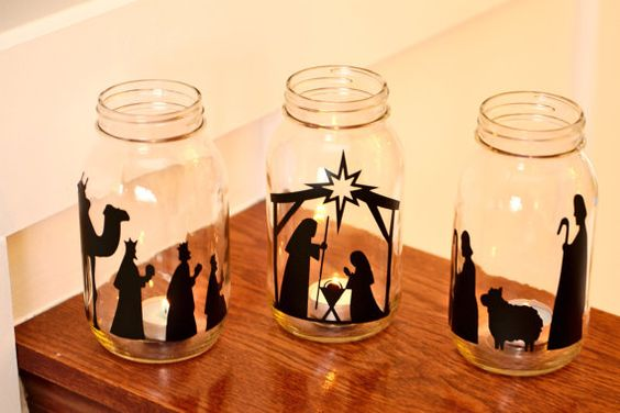 Beautiful vinyl nativity scene for mason jars. Makes a really nice glow at night with a candle inside.: