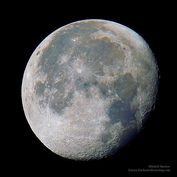 The surface of the moon exhibits beautiful, subtle colors. You can see rust-colored brown in the iron-rich maria, with shades of dark blue where there is a high level of titanium.  The waning gibbous moon here is 91.7% illuminated.  20 November 2013 3:05 pm UTC