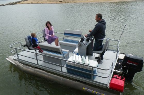Pontoon boats pontoons and ponds on pinterest for Pond fishing boats