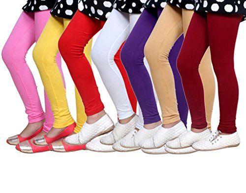 Indistar Little Girls Soft Cotton Leggings Set Of -8