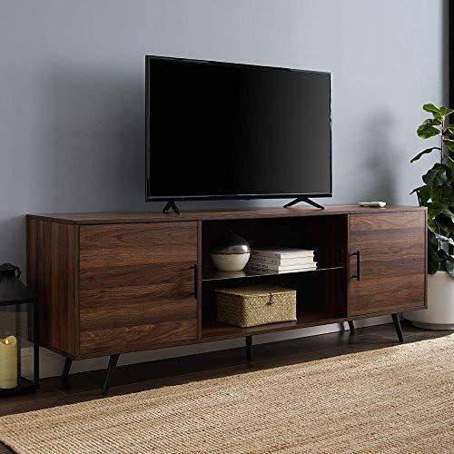 Buy We Furniture Az70nordw Tv Stand 70 Dark Walnut Online Greattopfurniture In 2020 Mid Century Modern Tv Stand Walnut Tv Stand Modern Tv Stand