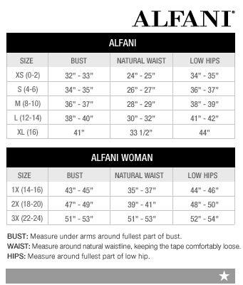 alfani woman regular and plus size charts via macys
