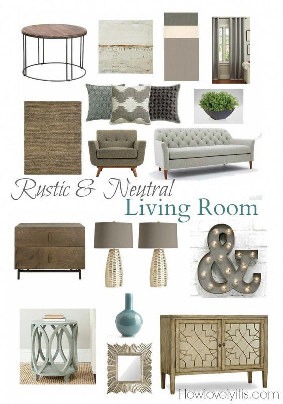 Rustic & Neutral Living Room Mood Board | How Lovely It Is #Livingroomdesigns
