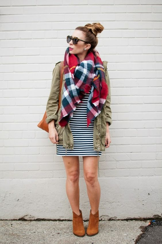 Boots + Plaid Scarf