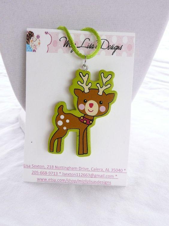 Wooden reindeer necklace - $3.00 by mizlisasdesigns on Etsy