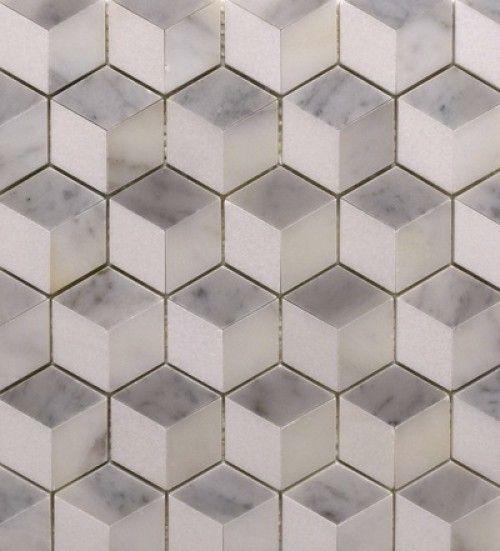 Three Dimensional Square Mosaic In Carrara Calacatta And Thassos Dimensional Tile Calacatta Three Dimensional