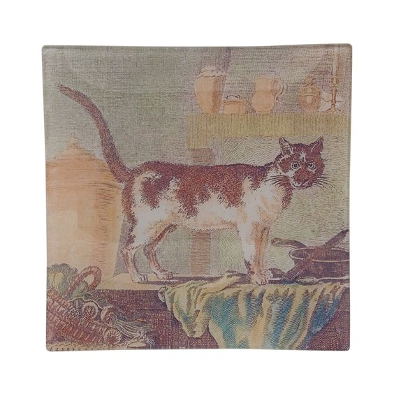 "by birdie hall decoupage dish 8"" Domestic Cat"