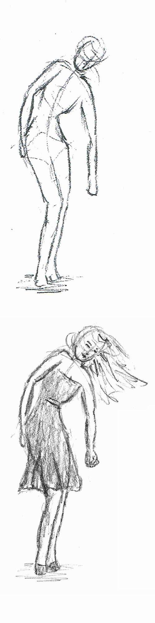 Vrouw bukt om iets van de grond te pakken. Boven - de ruwe schets / lijntekening. Onder - meer detail. Onderdeel van mijn zelfstudie mensen leren tekenen