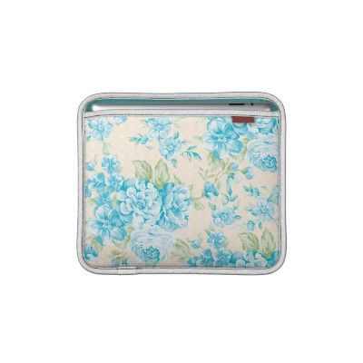 Shabby Chic Girly Blue Flowers Ipad Sleeves by GirlyTemplate