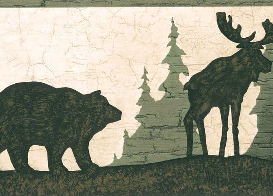 Moose Bear Wallpaper Border Green