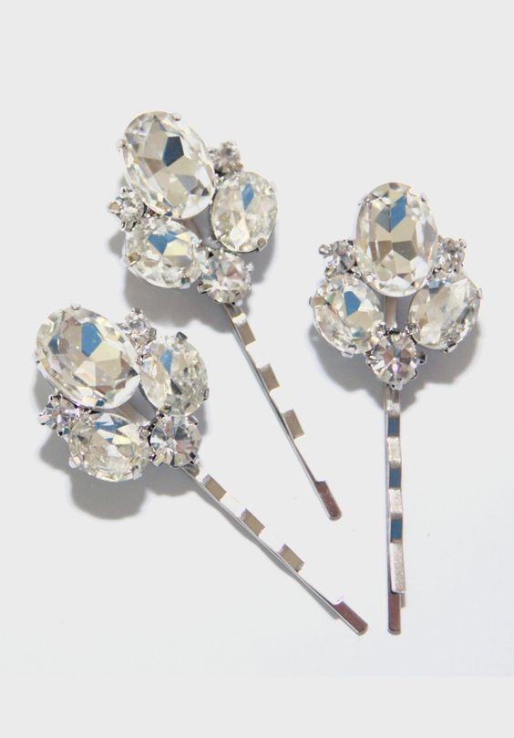 Set of 3 three Dream Wedding Hair Pins Bridal.. I love sparkly things and this would be a great understated accent to any hair style on the big day