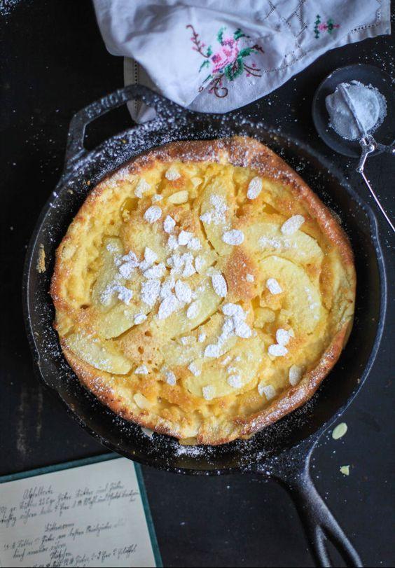 Apfel Ofen Pancake Apple Dutch Baby Puffed Pancake Apfelpfannkuchen Rezept bester Pfannkuchen Zuckerzimtundliebe Foodblog Frühstück Frühstücksglück Frühstücksidee