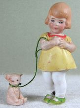 """3"""" Hertwig All Bisque Girl with Teddy Bear on Leash ~"""
