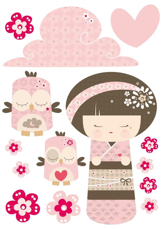 Stickers illustrations and poup es on pinterest for Decoration chambre kimmidoll