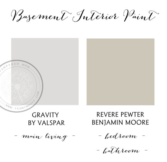 The Pampered Mom's Basement Interior Paint Colors  http://www.teamimhoff.com/2013/11/imhoff-house-basement-progress-interior.html