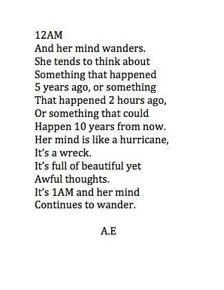 It's 1am and her mind continues to wander #quote #bookquote - observe the thoughts and situation