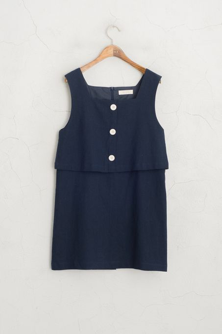Three Button Layerd Dress, Navy