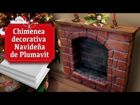 Chimenea decorativa navide a de plumavit youtube - Hacer chimenea decorativa ...