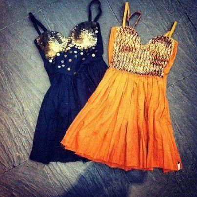 Orange and Black summer skirt fashion for ladies