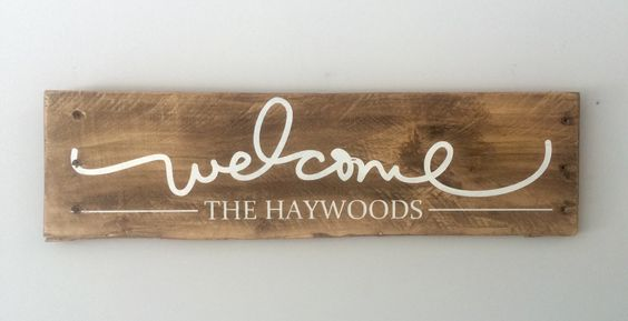 Personalized Welcome Sign with Family Name by SignsfromthePines on Etsy https://www.etsy.com/listing/239037468/personalized-welcome-sign-with-family