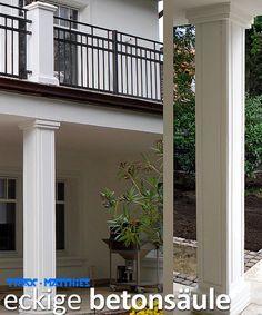 eckige moderne Betonsäule aus hochwertigen Weißbeton!    Höhe bis 296 cm,  Schaft  30 x 30 cm ,  Sockel  38x38 cm    Kapitell  43x43 cm,  Gewicht ca 200 Kg