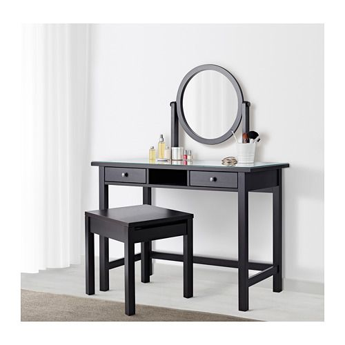 Hemnes Dressing Table With Mirror Black Brown 43 1 4x17 3 4 Ikea Dressing Table Mirror Black Wall Mirror Black Dressing Tables