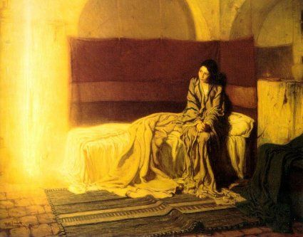 "Henry Ossawa Tanner -- 'the first African American to exhibit at the Paris Salon' -- ""Annunciation"", 1898, oil on canvas"