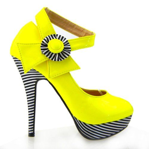 Show Story Sexy Yellow Flower Ankle Strap Stripe Platform Heels ...