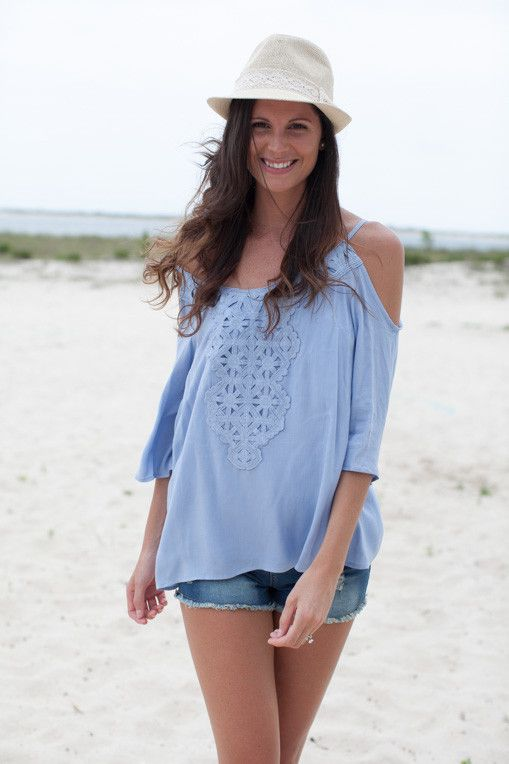 Lucy In the Sky With Diamonds Open Shoulder Sky Blue Top