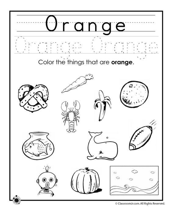 Learning Colors Worksheets for Preschoolers Color Orange Worksheet ...