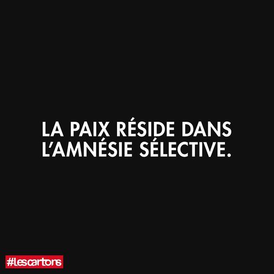 """Les Cartons - """" La paix réside dans l'amnésie sélective""""❤"""