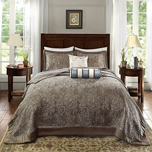 5 Piece 120 X 118 Oversized Blue Brown King Bedspread To The Floor Set Extra Long Jacquard Paisley Bedding Xtra Wide Bed Spreads Bedspread Set Paisley Bedding