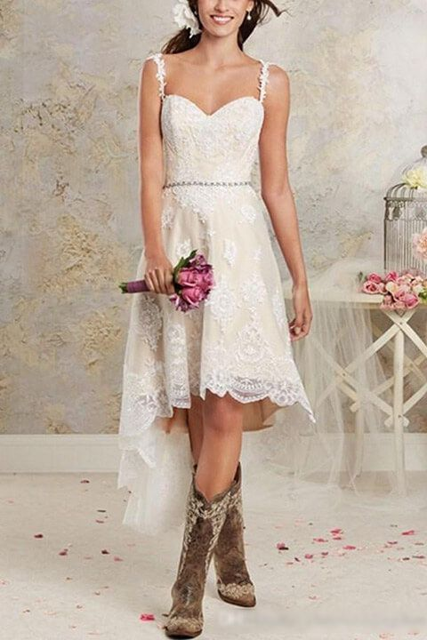 45 Short Country Wedding Dress Perfect With Cowboy Boots Short Or High Low Styles Short Lace Wedding Dress Wedding Dresses High Low Short Bridal Dress