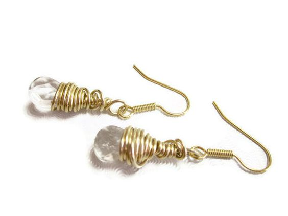 Earrings With Faceted Clear Quartz Crystal and Gold Filled Wire by SplendidStones, $22.00