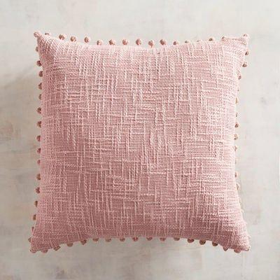 Basketweave Pompoms Blush Pillow Blush Pillows Pink Pillows Pillows