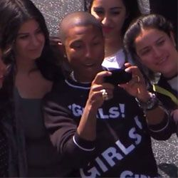 Pharrell Battles Jimmy Kimmel in Selfie Contest