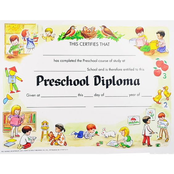 Kindergarten Awards Certificates: Preschool Diploma