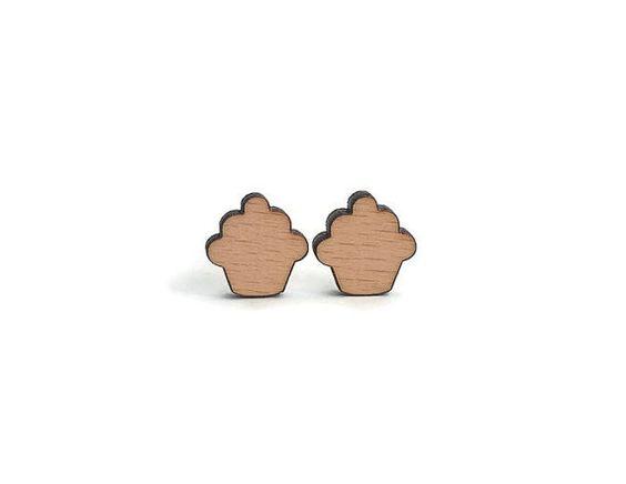 Laser cut cupcake earrings cupcake stud earrings by MonJoliBois